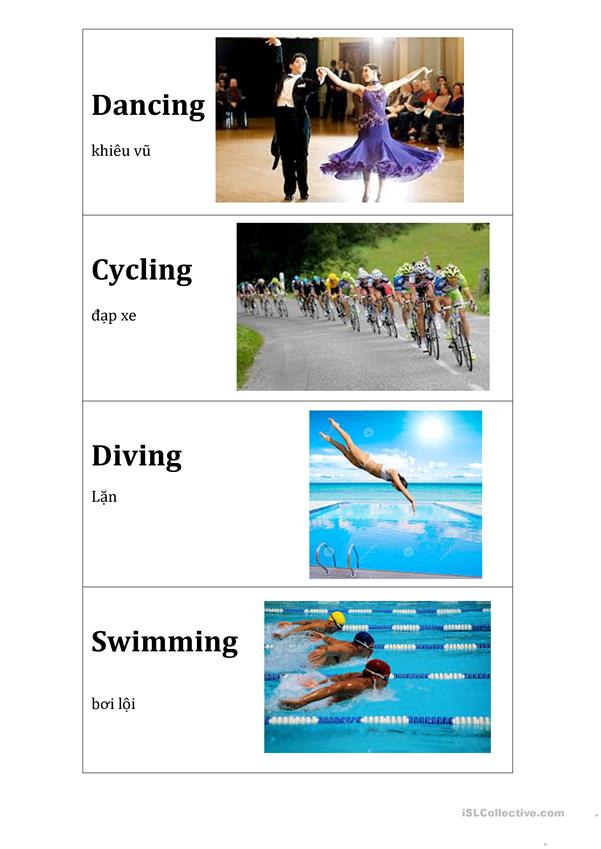 Action flashcards (running, jumping, hopping, etc) in English-Vietnamese