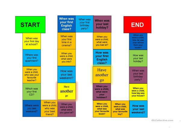Board game: Past simple of the verb to be