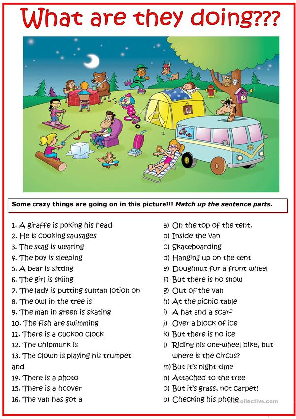 Crazy picture for present continuous tense practice