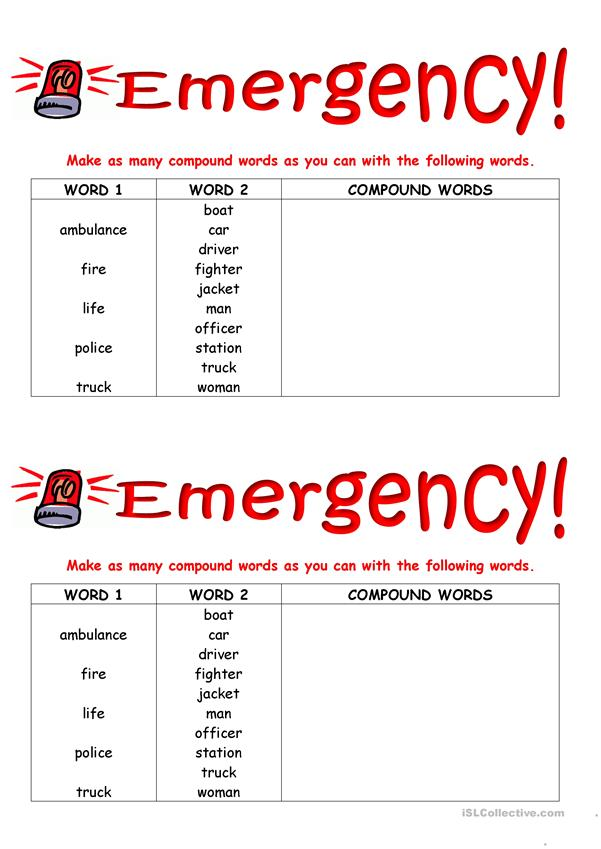 Emergency!  Build up your Vocabulary.