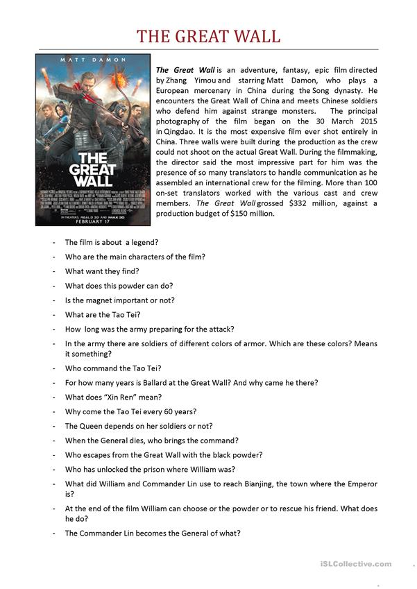 FILM - The Great Wall 2016 - Worksheet
