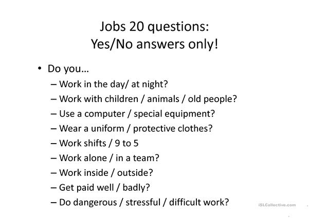 Jobs discussion activities