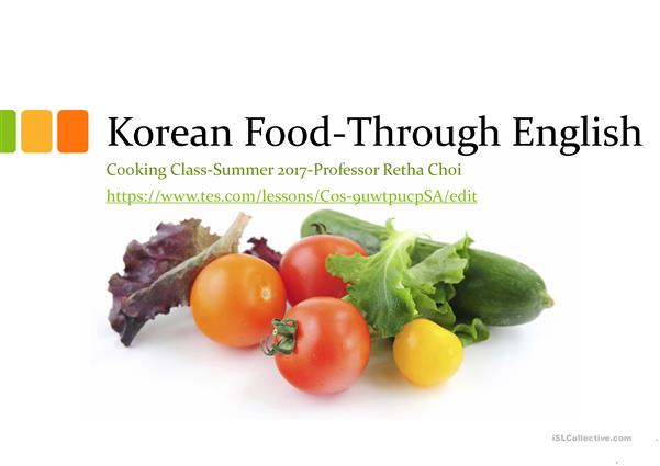 Korean Food-Through English-Week one