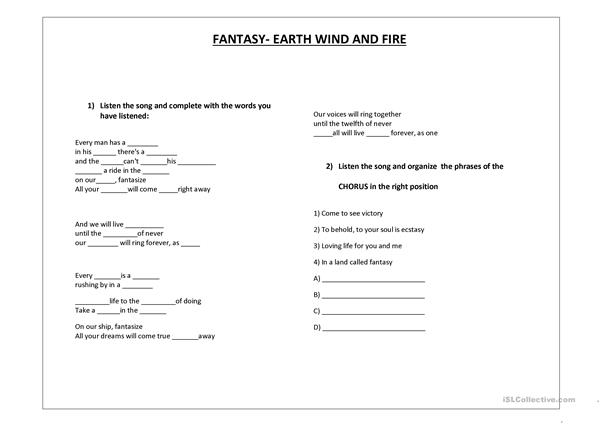 Listening exercise: Fantasy- Earth, wind and fire.