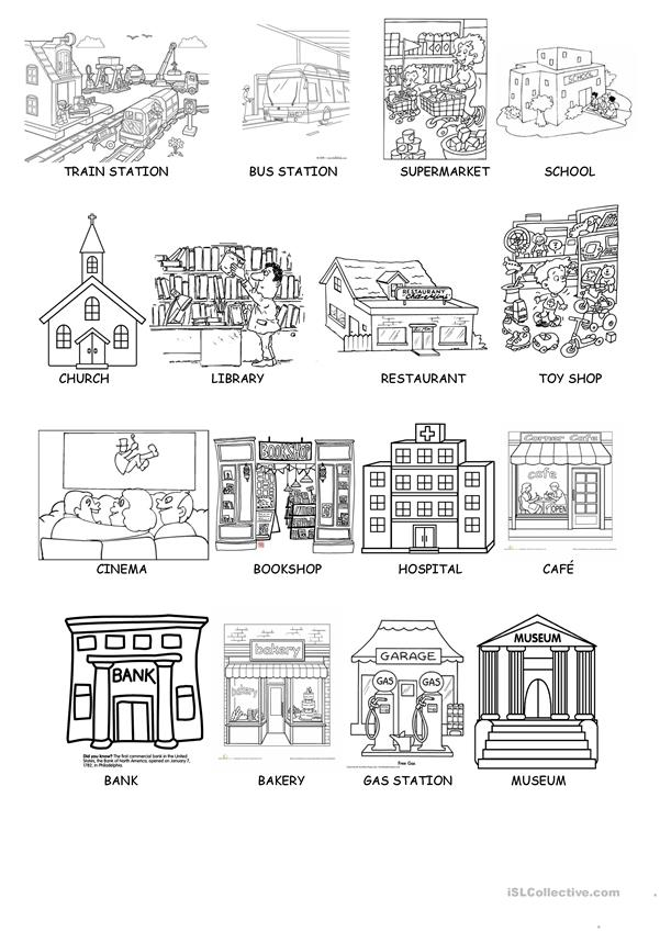 PLACES ON THE CITY AND PARTS OF A HOUSE