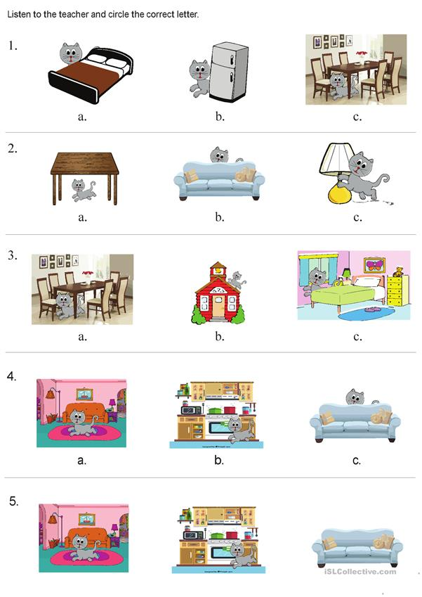 Prepositions of place and rooms of the house