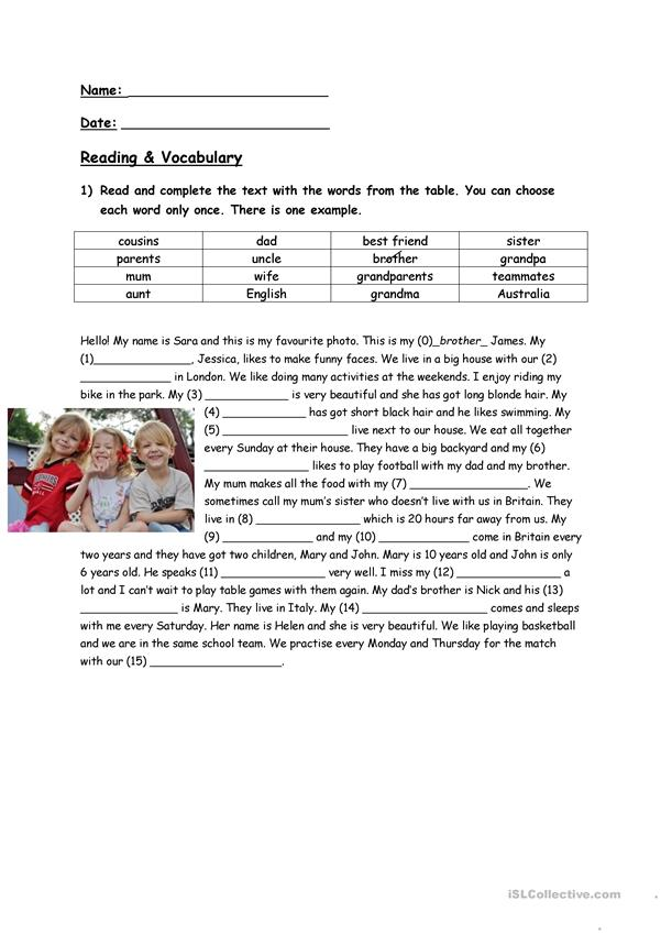 Reading Comprehension and Vocabulary Family