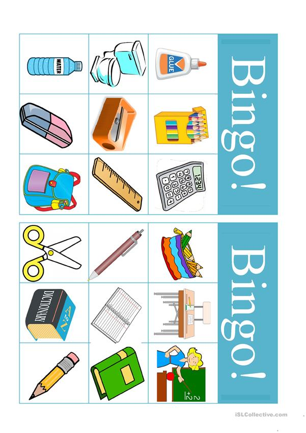 School supplies and extra bingo