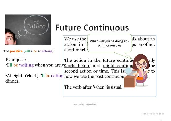 Speaking Future Simple and Future Continuous