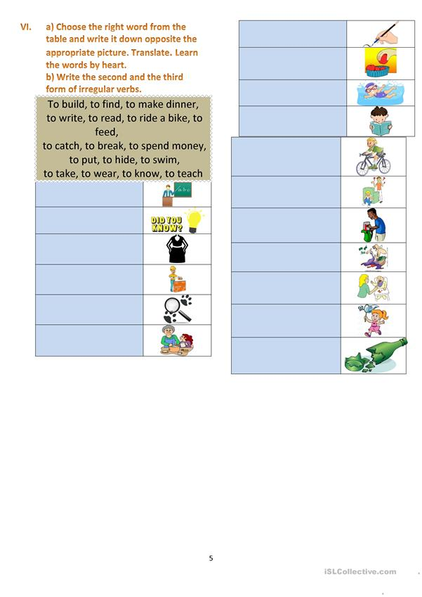 The Past Simple in the exercises.