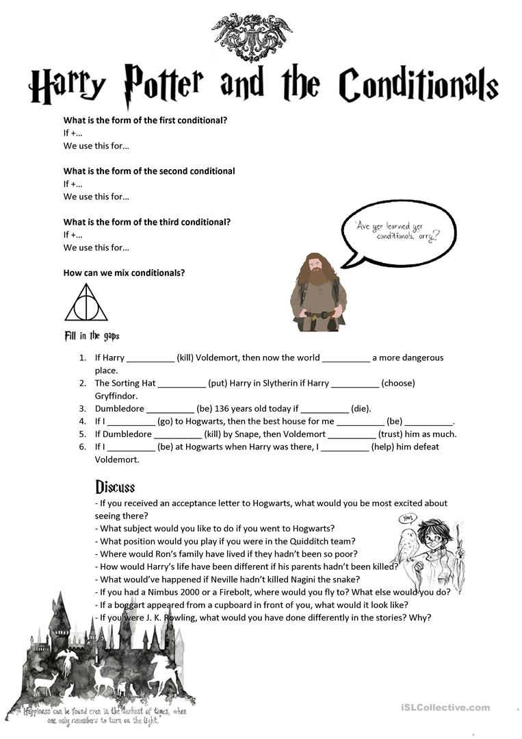 worksheet Harry Potter Printable Worksheets conditionals second third mixed with harry potter worksheet full screen