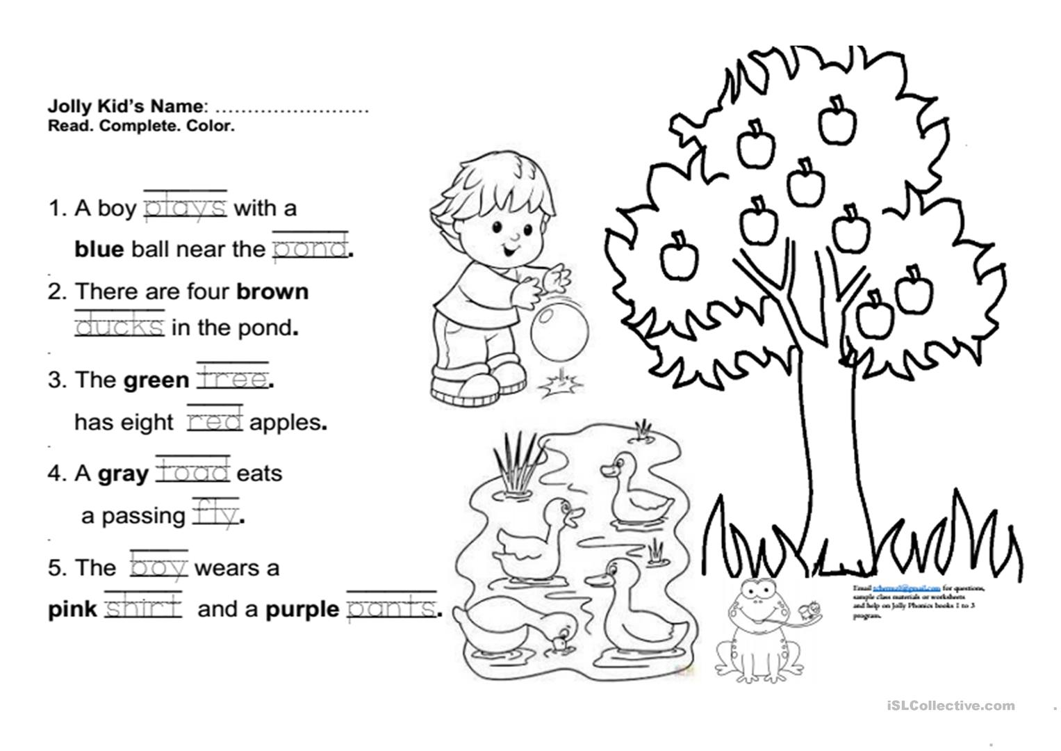 Jolly Phonics book 3 Fun Final Test - English ESL Worksheets