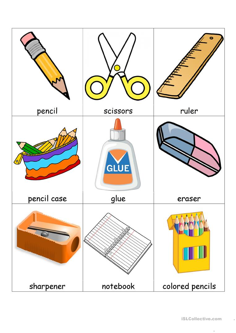School supplies and extra bingo - English ESL Worksheets