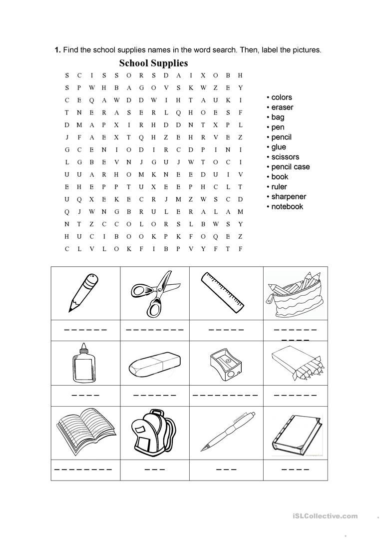 School supplies worksheet - Free ESL printable worksheets made by ...