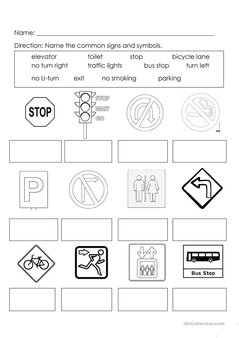 signs and symbols worksheet free esl printable