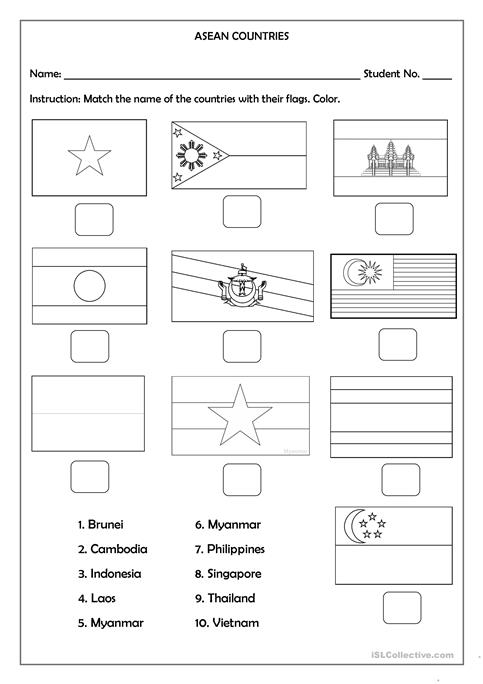 Thailand Flag Printable Worksheet Coloring Pages Basque Asean Countries Free Esl