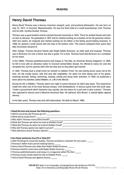 thoreau walden essay Essay contest information and timeline each year, the live deliberately essay contest invites youth from around the world, ages 14-21, to consider a selected henry david thoreau quotation and accompanying prompt.