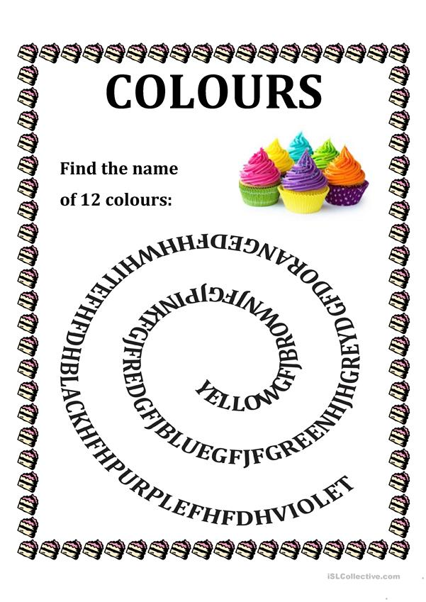 Colours - Spiral Wordsearch