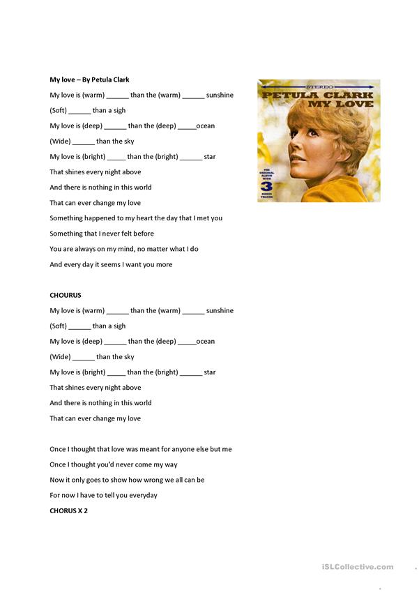 Comparatives and superlatives song worksheet