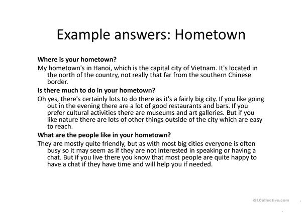 IELTS Neighbourhood and Hometown