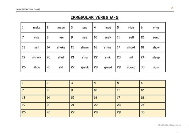 Irregular Verbs Concentration List