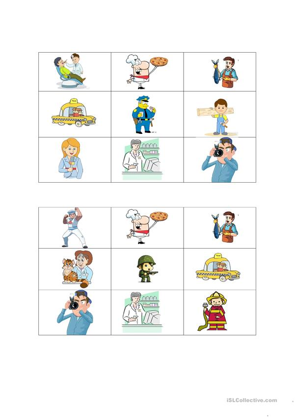 Jobs and occupations bingo