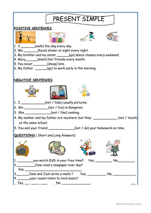 Simple Present Tense - English ESL Worksheets for distance learning and  physical classrooms