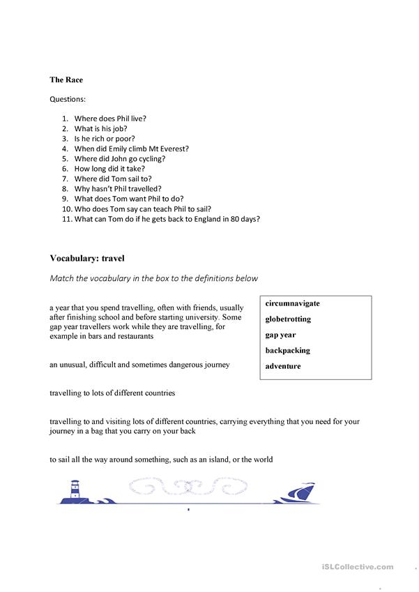 worksheet for The Race episode 1