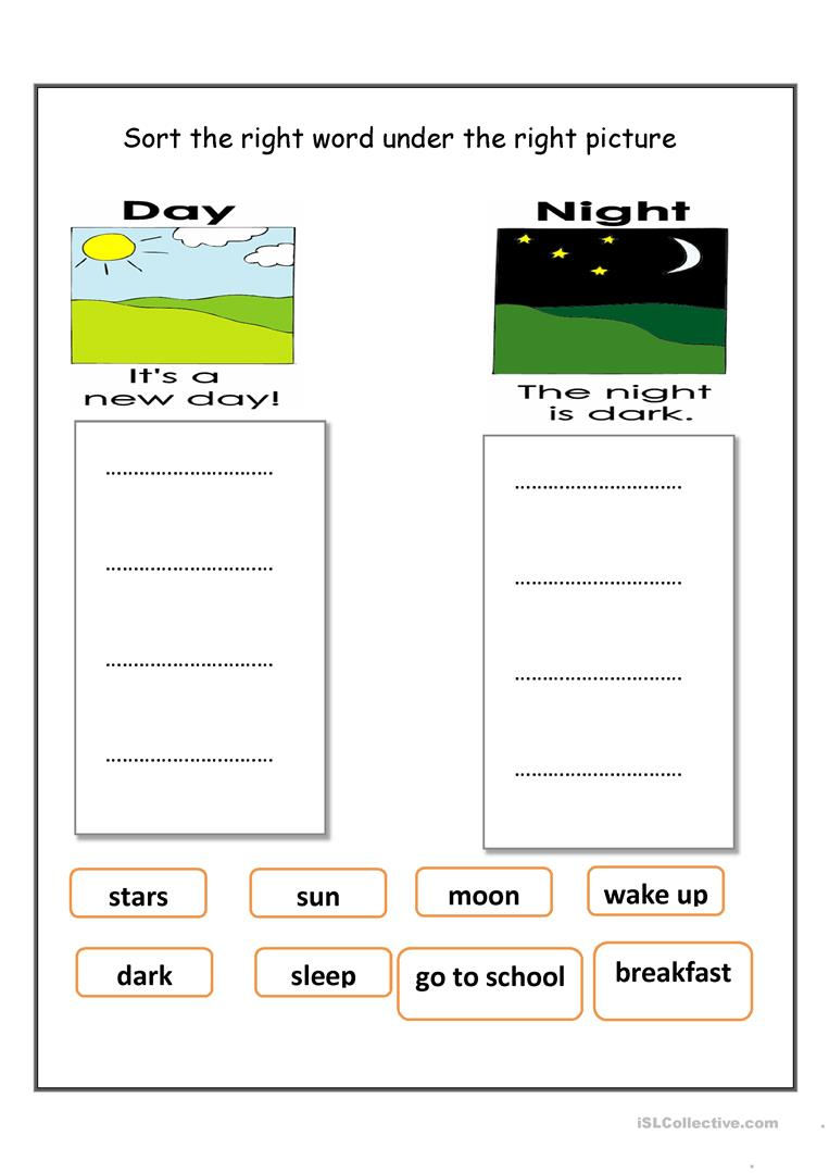 Day and night work sheet - English ESL Worksheets