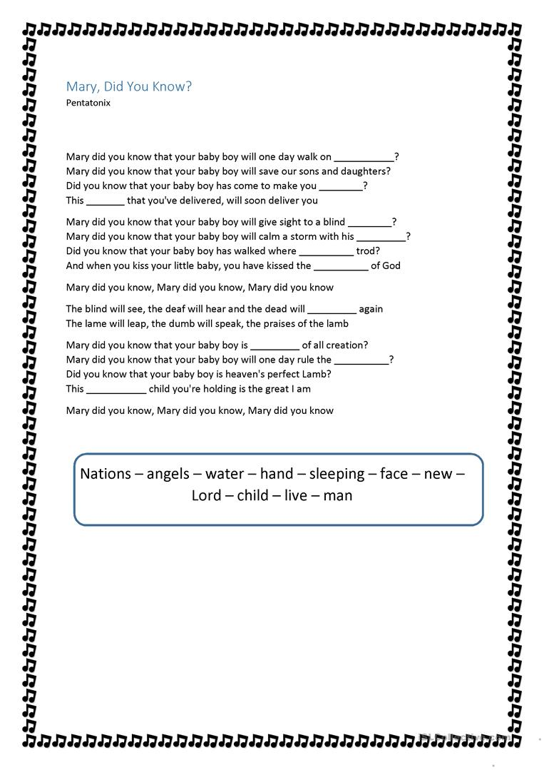 picture relating to Mary Did You Know Lyrics Printable identified as Mary did on your own recognize - Pentatonix - English ESL Worksheets