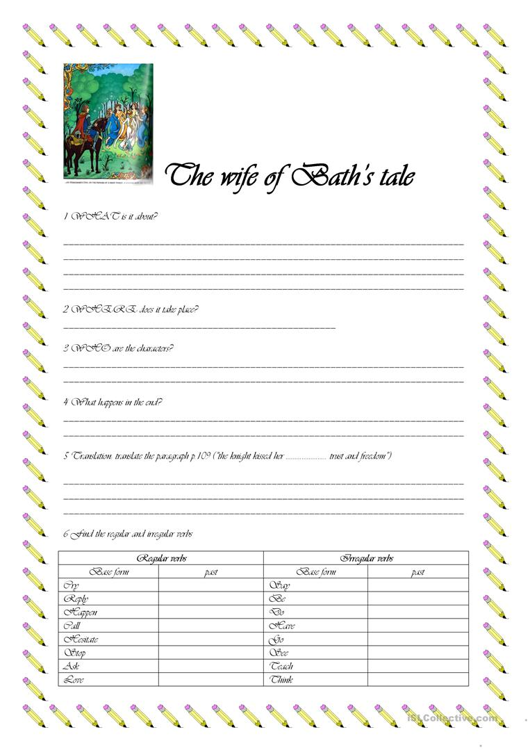 worksheet Wife Of Bath Worksheet the canterbury tales worksheet free esl printable worksheets made full screen