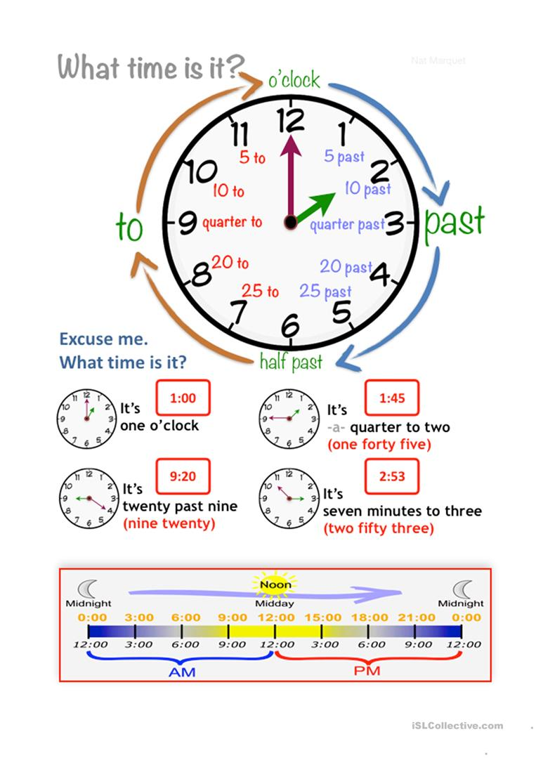 What's the time   English ESL Worksheets for distance ...