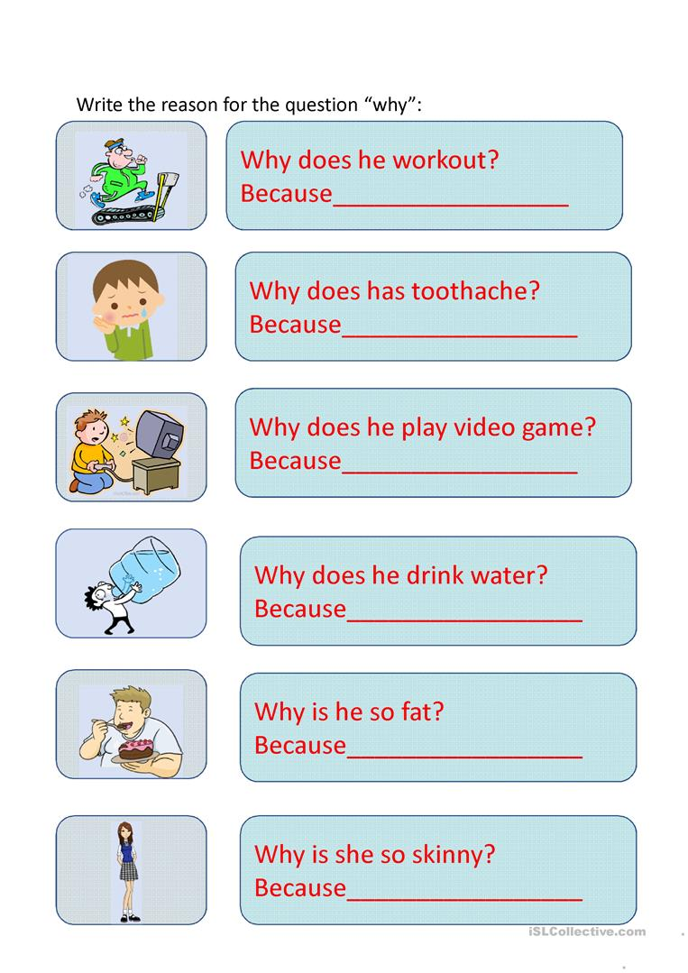Why because worksheet - Free ESL projectable worksheets made by teachers