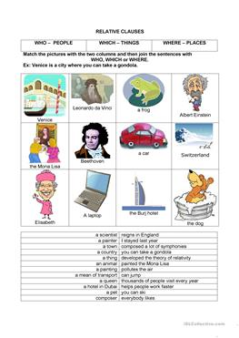 6 FREE ESL Relative clauses: Relative adverbs worksheets