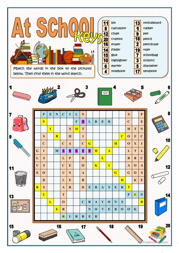 AT SCHOOL - WORDSEARCH
