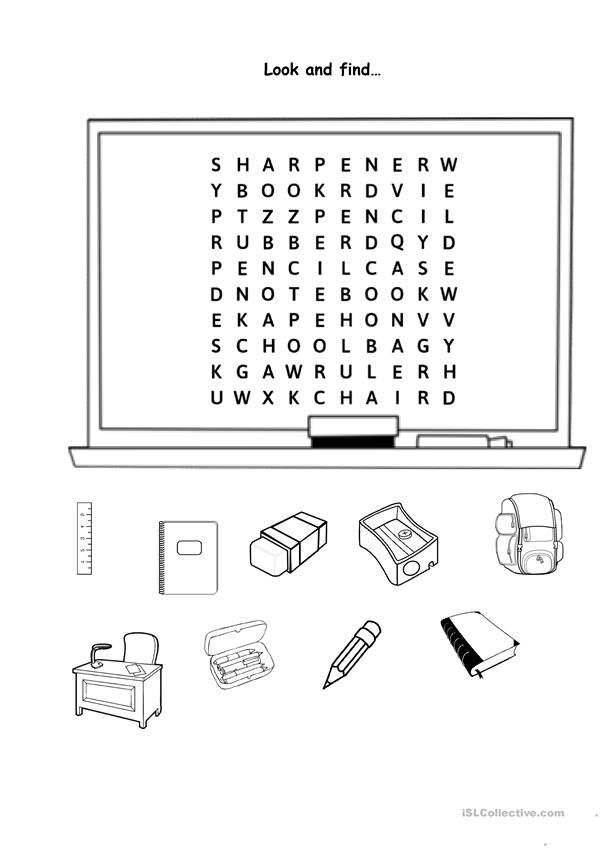 Classroom vocabulary wordsearch