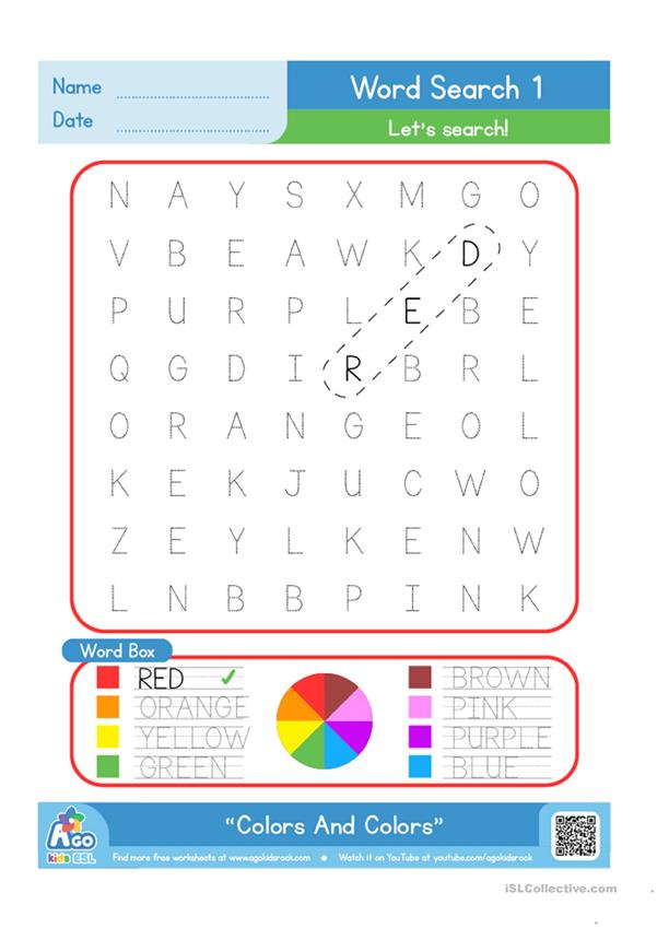 Color / Colours Word Search Plus Writing Practice