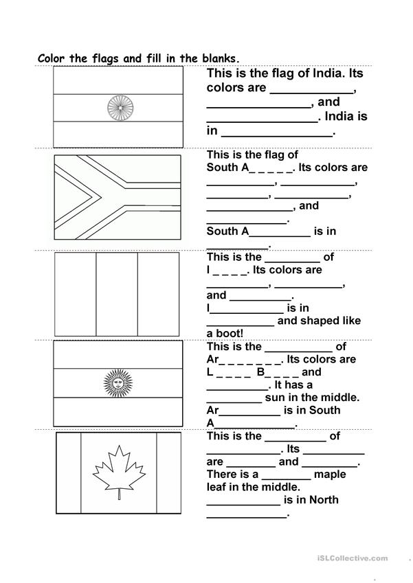 Color the flag and fill in the blanks
