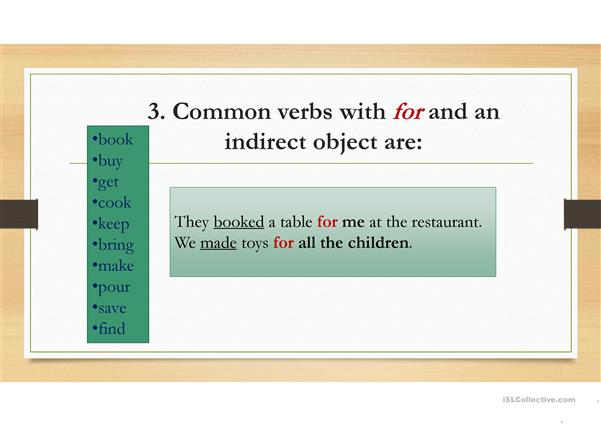 Double Object Verbs