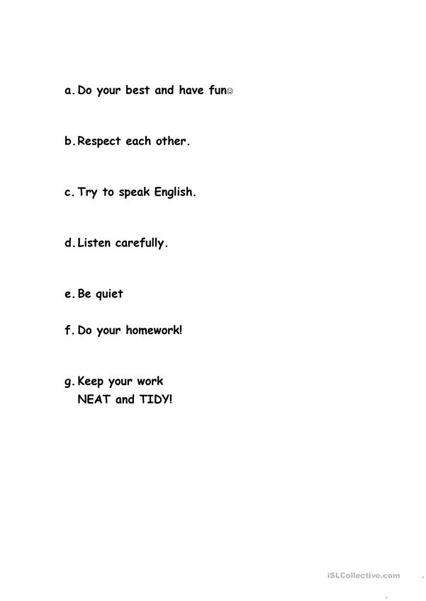 English Class Rules