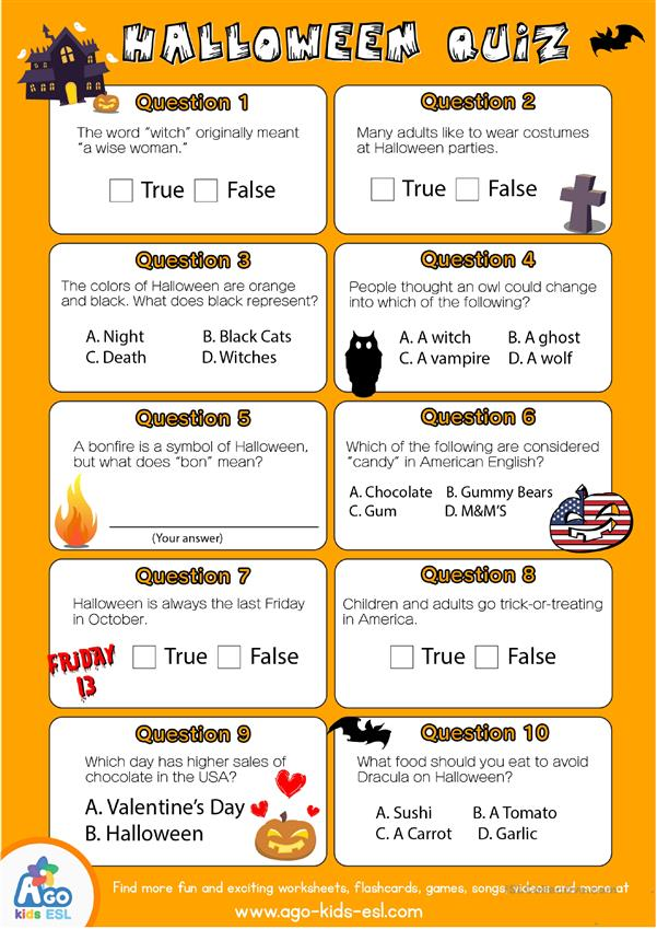 English Halloween Quiz Worksheet for ESL Classes