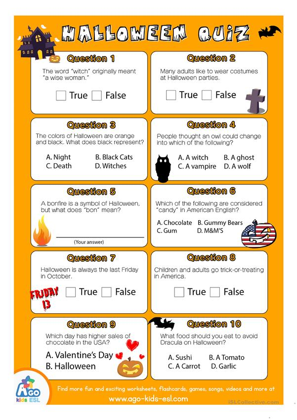 ESL Halloween Quiz Worksheet for English Class