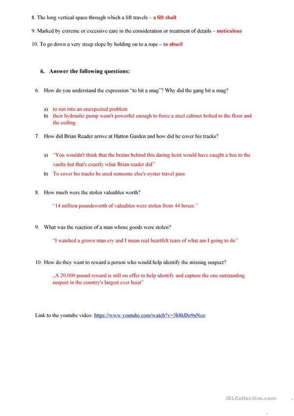 Hatton Garden burglary - listening and vocabulary worksheet