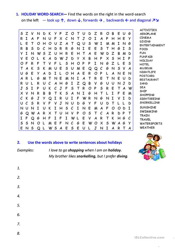 HOLIDAY WORDSEARCH and discussion questions