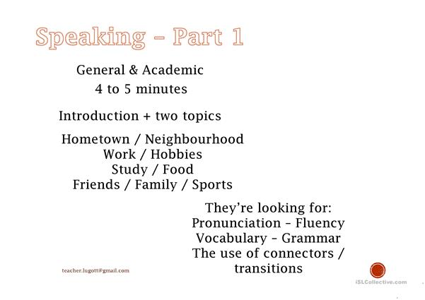 IELTS speaking preparation for Part 1