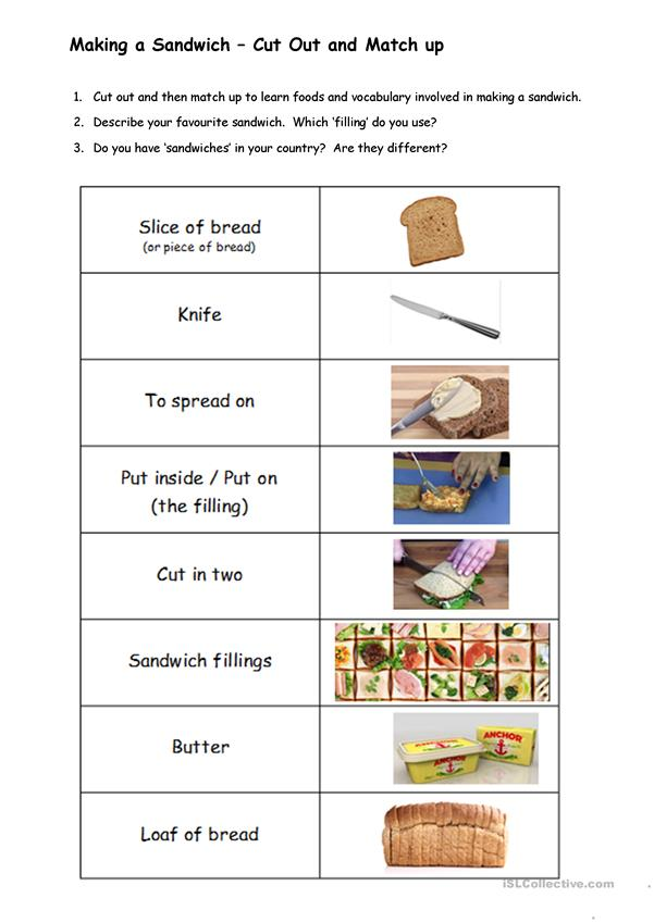 MAKING A SANDWICH - match-up activity and questions