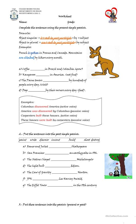 present and past passive voice worksheet