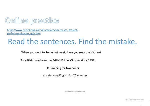 Present Perfect Continuous online lesson