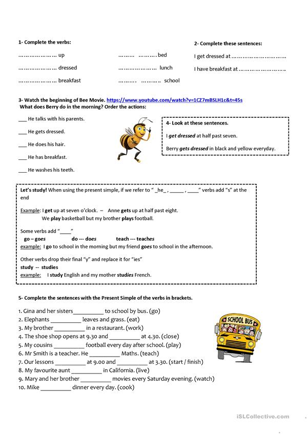 Present Simple explanation and practice - Bee Movie