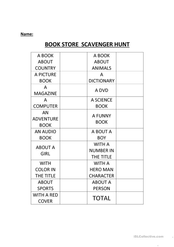 Scavanger Hunt at the book store